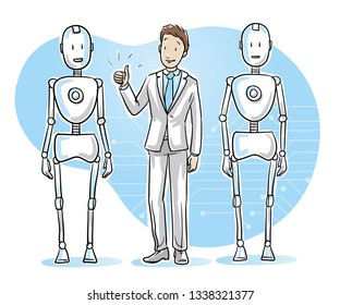 Happy business man standing between two humanoid robots showing thumb up. Concept for coworking with artificial intelligence. Hand drawn cartoon sketch vector illustration, colored on blue background