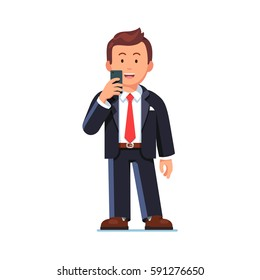 Happy business man standing with mobile phone in the hand and making video call or taking photo. Smiling excited worker looking at smartphone sending message. Flat style vector isolated illustration.