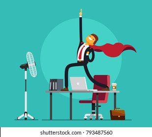 Happy Business Man is standing on the table like a super hero. Vector illustration.