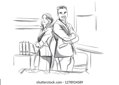 Happy business man and woman standing cross handed Vector sketch. Succesful team workers. Storyboard digital template. Sketch style line arts