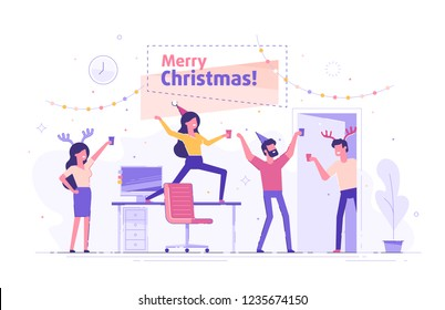 Happy business people at a Christmas and New Year's corporate party. Positive men and women with champagne dancing and having fun. Set of modern vector characters.