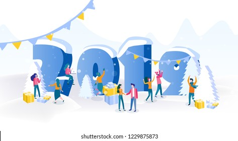 Happy business people, Office Team are engaged in decoration, Christmas tree, presents, Flat isometric vector illustration, Preparing to meet the New Year 2019, happy holiday! big number.