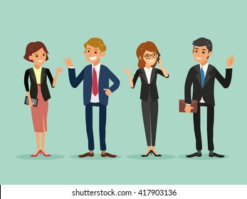 happy business people standing vector cartoon illustration