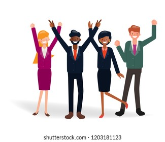 Happy business people successful concept . teamwork corporate. Illustration vector of business people character.