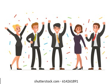 Happy business people. Vector illustration.