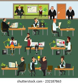 Happy business people working on office. people working in the office each in their workplace. Corporation. vector illustration. open space office building with working people.