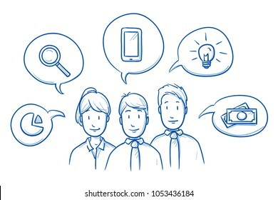 Happy business team, man and woman, talking about their expertise and ideas with icons in speech bubbles. Hand drawn line art cartoon vector illustration.