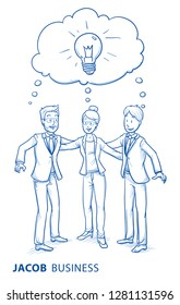 Happy business team, men and women, sharing their ideas, concept of good teamwork. Hand drawn blue line art cartoon vector illustration.