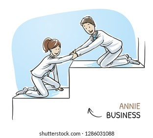 Happy business team, men and women, helping each other climbing stairs, concept of good teamwork. Hand drawn cartoon sketch vector illustration, whiteboard marker style coloring.