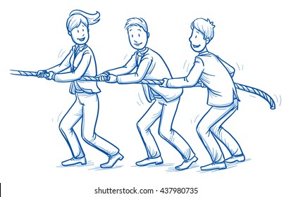 Happy business team, men and women,pulling a rope together, tug of war, concept of good teamwork. Hand drawn line art cartoon vector illustration.