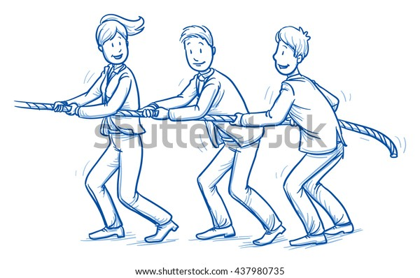 Fröhliches Geschäftsteam, Männer und Frauen, die ein Seil zusammenziehen, Krieg ziehen, Konzept guter Teamarbeit. Handgezeichnete Linie Art Cartoon Vektorgrafik.