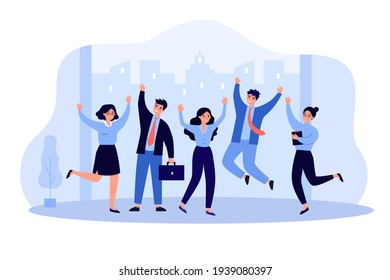 Happy business team people jumping celebrating success. Professional office job flat vector illustration. Victory, achievement concept for banner, website design or landing web page