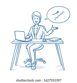 Happy business woman, employee at her desk with laptop, tablet and smart phone, with climbing stairs icon in thought bubble.  Hand drawn blue line art cartoon vector illustration