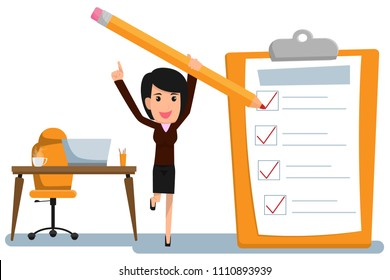 Happy business woman holding a pencil completed checklist on clipboard. Business concept. business character vector illustration.