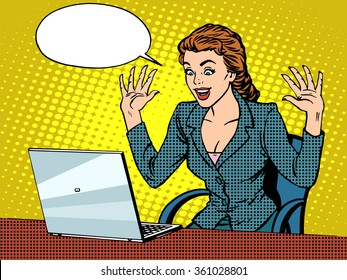 Happy business woman with laptop