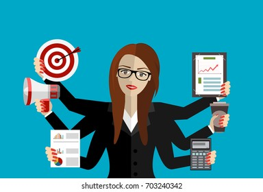 Happy business woman with many hands holding papers, megaphone, target. Multitasking and productivity concept. Vector flat design illustration.