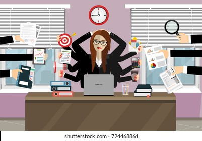 Happy business woman with many hands. Multitasking and productivity concept. Vector flat design illustration.