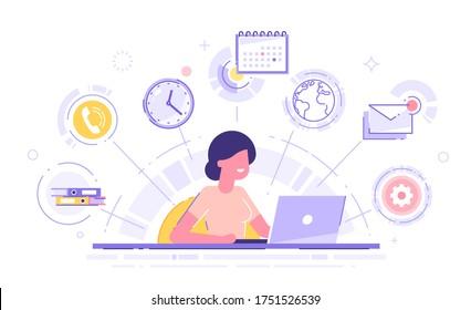 ノートパソコンにマルチタスクのスキルを持ち、オフィスアイコンを背景に幸せなビジネスマン。 フリーランスの社員。 マルチタスク、時間管理、生産性のコンセプト。 ベクターイラスト。