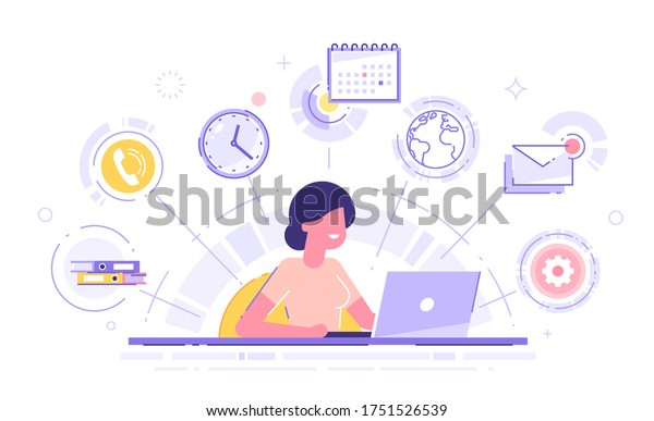 Happy business woman with multitasking skills sitting at his laptop with office icons on a background. Freelance worker. Multitasking, time management and productivity concept. Vector illustration.