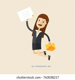 Happy business woman receives letter and jumping. Job offer concept. Vector, illustration, flat
