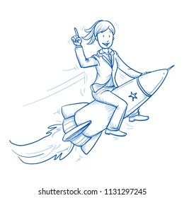 Happy business woman riding on a fast rocket. Concept for winner, pioneer, innovation, start up. Hand drawn line art cartoon vector illustration.