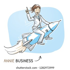 Happy business woman riding on a fast rocket. Concept for success, winner, pioneer, innovation. Hand drawn cartoon sketch vector illustration, whiteboard marker style coloring.