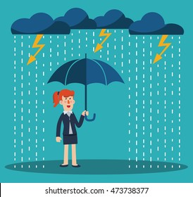 Happy business woman standing with umbrella under thunderstorm. Concept of business protection