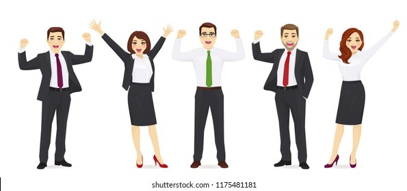 Happy business woman in suit jumping with hands up isolated vector illustration