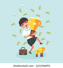 Happy business woman under money rain with trophy gold cup. Vector illustration