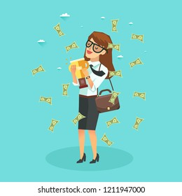 Happy business woman under money rain with Golden Trophy Cup. Employee benefits concept. Vector illustration