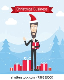 Happy Businessman Buying Christmas Presents. Handsome Young Man Brings Presents. Winter Landscape with Xmas Gifts and a Satisfied Customer in Christmas Hat Vector Art Design Illustration