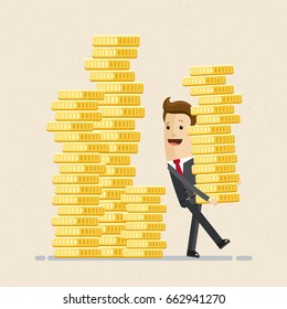 Happy businessman carries a pile of coins. Vector, illustration, flat