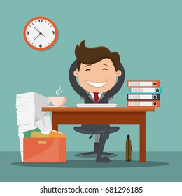 Happy businessman character relaxed in the office. Businessman sitting calmly on a casters chair legs crossed and hands behind head. Vector illustration , Success concept