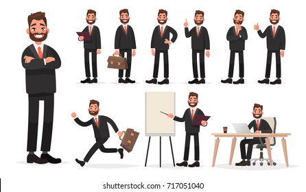 Happy businessman. A character set of an office worker man in various poses and situations. Vector illustration in cartoon style