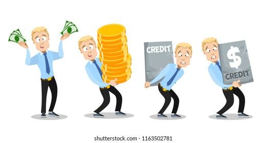 Happy businessman with dollar banknotes and stack of big gold coins. Sad young man carries big heavy credit. Wealth and debt set. Corporate manager personage. Business people vector illustration
