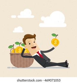 Happy businessman get a profit, dividends. Return on investments as golden apples in basket. Vector, illustration, flat
