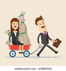 Happy businessman goes with a wheelbarrow, in which there are  woman - colleague and bag with money. Business and finance concept. Vector, illustration, flat
