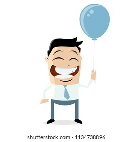 happy businessman holding a blue balloon