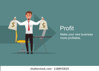 Happy businessman holding money bag in both hands and showing the profit. Money bag with dollar sign on it for more profitable business. Business, get more profit concept with successful business man.