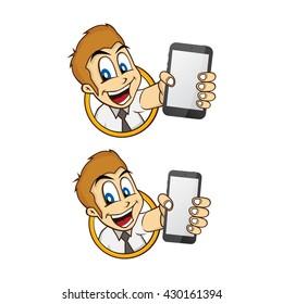 happy businessman holding phone theme vector art illustration