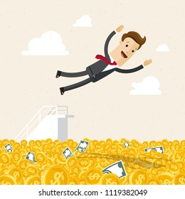 Happy businessman jumping into money. Business success, a lot of money.
