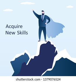 Happy businessman looking how superhero standing on top of mountain peak,strong and successful male,acquire new skills and business education concept,trendy style vector illustration.