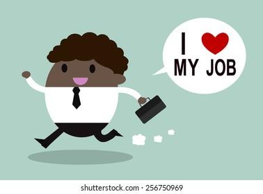 Happy businessman. I love my job business concept. Vector illustration.