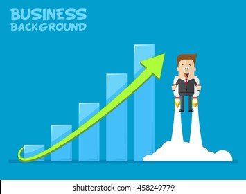 Happy businessman or manager flying on jetpacks to his goal. The growth of the economy. Investments up. A man in a business suit with a tie flying up. Vector cartoon illustration of a plane.
