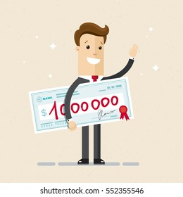 Happy businessman or manager holds a check on one million dollars. Prize, bonus, win, jackpot. Vector, illustration, flat