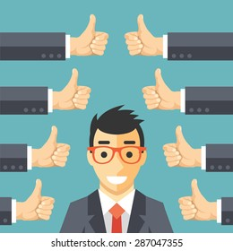 Happy businessman and many hands with thumbs up. Likes and positive feedback concept. Creative vector illustration