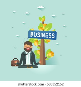 Happy businessman meditating near money tree. Business growth concept. Vector colorful illustration.