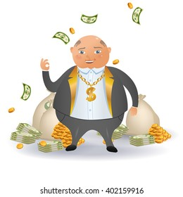 Happy businessman with a lot money. Business concept cartoon illustration. A happy cartoon rich man holding many dollar banknotes. Investments for future.