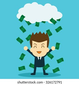 happy businessman with passive income