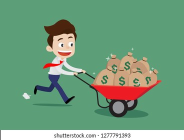 Happy businessman pushing the trolley filled with money bags, Cartoon vector illustration